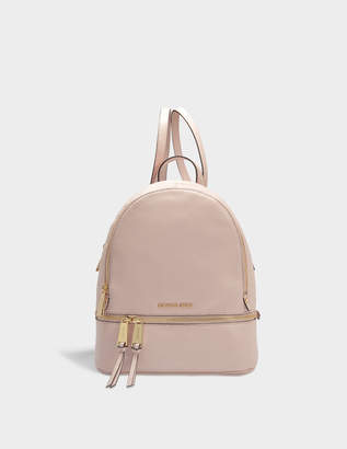 MICHAEL Michael Kors Rhea Zip Medium Backpack in Soft Pink Grained Calfskin