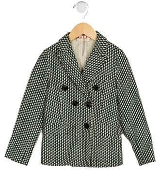 Marni Junior Girls' Printed Double-Breasted Blazer green Junior Girls' Printed Double-Breasted Blazer