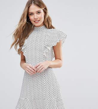 Closet London Ruffle Dress In Polka Dot