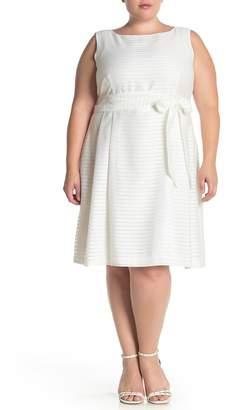 Anne Klein Boatneck Shadow Stripe Waist Tie Dress (Plus Size)