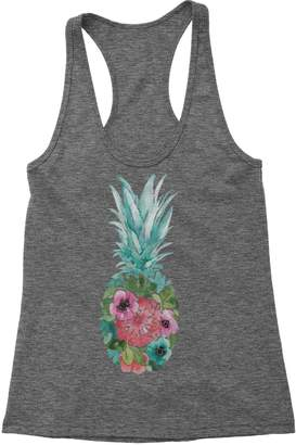 fdb0fb7cdd824 Expression Tees Racerback Floral Pineapple Ladies Tank Top