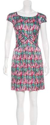 Zac Posen Short Sleeve Silk Mini Dress