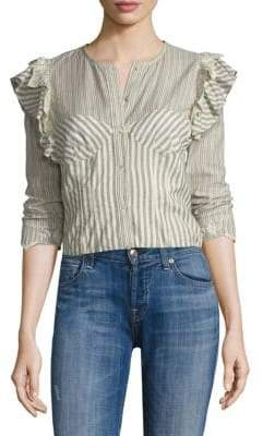 Rebecca Taylor Long Sleeve Stripe Cotton Eyelet Top