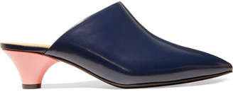 Marni Leather Mules - Midnight blue