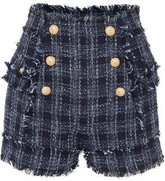 Balmain Button-embellished Frayed Cotton-blend Tweed Shorts - Navy