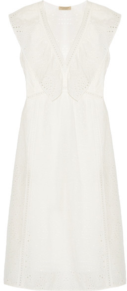 Burberry - Ruffle-trimmed Broderie Anglaise Cotton-blend Dress - White