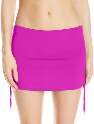 Calvin Klein Women's Side Shirred Skirted Bikini Bottom