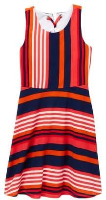 Iris & Ivy Stripe Skater Lace-Up Back Dress (Big Girls)