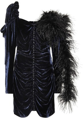 Magda Butrym Tefe feather trim silk-blend minidress