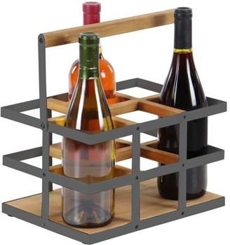 DecMode Decmode Modern 6-Bottle Wood And Metal Wine Rack, Brown