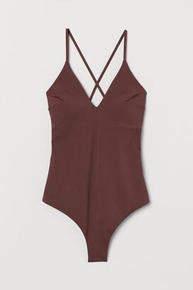 H&M V-neck Swimsuit - Brown