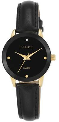 Eclipse by Armitron Eclipse Women's Round Casual Watch with Black Leather Band