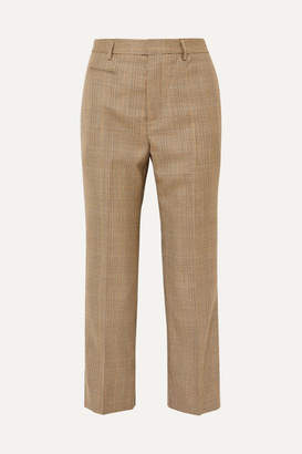 R 13 Cropped Leopard Print Voile-trimmed Checked Wool Straight-leg Pants - Brown