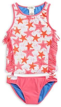 Jessica Simpson 2-Piece Girl's Printed Fringe Swim Suit