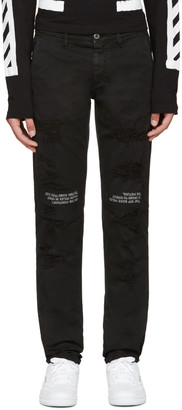 Off-White Black Distressed Chinos $420 thestylecure.com