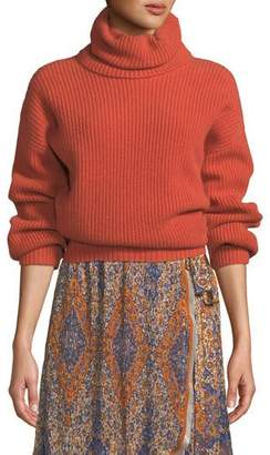 Tory Burch Inez Ribbed Wool Turtleneck Sweater