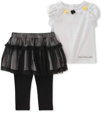 Calvin Klein 2-Pc. Top & Skirted Leggings Set, Baby Girls