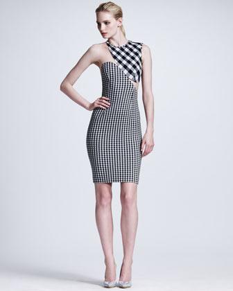 Stella McCartney Contoured Mesh-Inset Gingham Sheath Dress