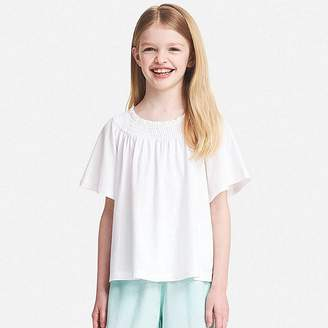 Uniqlo Girl's Shirred Short-sleeve T-Shirt