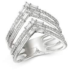 Bloomingdale's Round & Baguette Diamond Chevron Ring in 14K White Gold, 0.75 ct. t.w. - 100% Exclusive