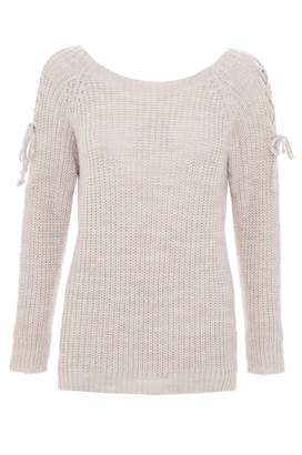 Quiz Grey Knit Lace Up Long Sleeve Jumper