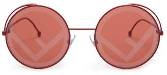 Fendi Fendirama Rounded Frame Metal Sunglasses - Womens - Red