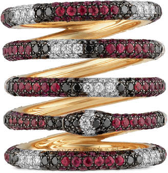 Gucci Five band Ouroboros ring in gold and gemstones