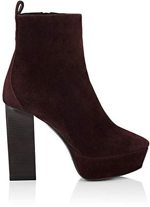 Saint Laurent Women's Vika Suede Ankle Boots - Wine