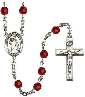St. John Bonyak Jewelry Rosary Collection -Plated Rosary 6mm July Red Fire Polished Beads, Crucifix Size 1 3/8 x 3/4. of Capistrano medal charm