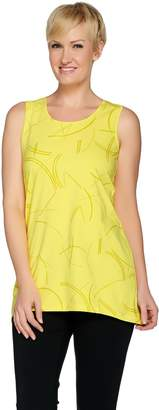 Halston H By H by Sleeveless Printed Tunic with Hi-Low Hem