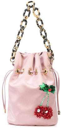 Edie Parker Cherry drawstring bag