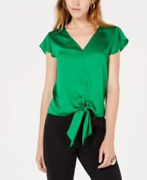 Bar III Flutter-Sleeve Tie-Front Blouse, Created for Macy's