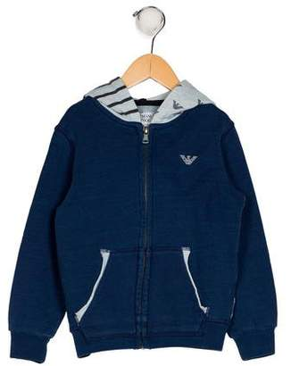 Armani Junior Boys' Hooded Zip-Up Jacket