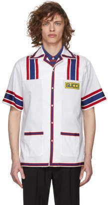 Gucci White Retro Logo Patch Bowling Shirt