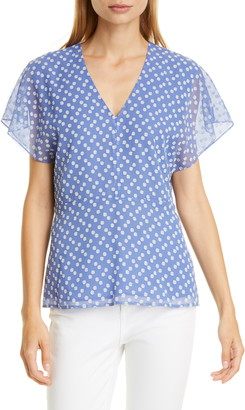 Lewit Embroidered Dot V-Neck Top