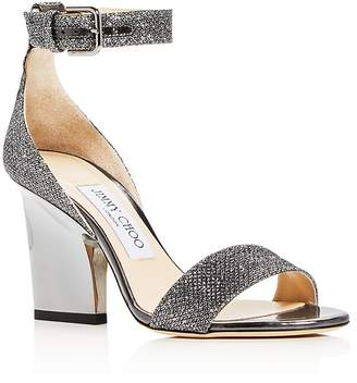 Jimmy Choo Edina 85 Glitter High-Heel Sandals