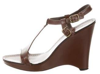 Massimo Dutti Leather T-Strap Wedges