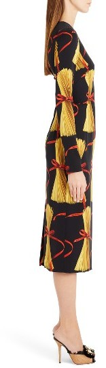 Women's Dolce&gabbana Pasta Print Stretch Silk Dress 3