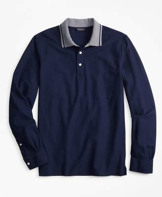 Brooks Brothers Two-Tone Long-Sleeve Polo Shirt