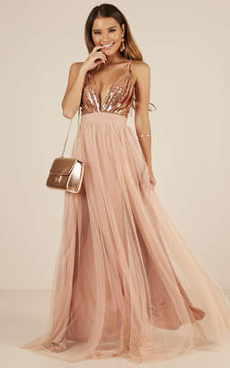 Showpo The Last Kiss maxi dress in rose gold - 8 (S) Sale Dresses