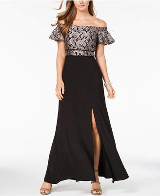 Night Way Nightway Petite Off-The-Shoulder Lace Gown