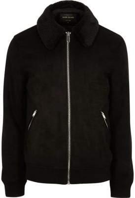 River Island Black faux suede faux fur collar jacket