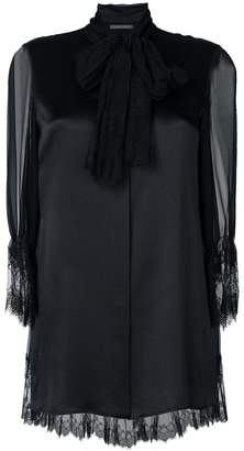Alberta Ferretti lace trim sheer sleeve top