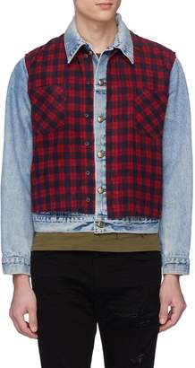 R 13 Tartan plaid flannel panel denim jacket