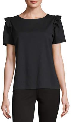 Liz Claiborne Womens Round Neck Short Sleeve Knit Embellished Ruffled Blouse