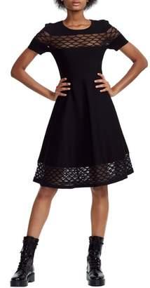 Maje Lattice Illusion Lace Detail Fit & Flare Dress
