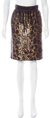Louis Vuitton Sequined Knee-Length Skirt