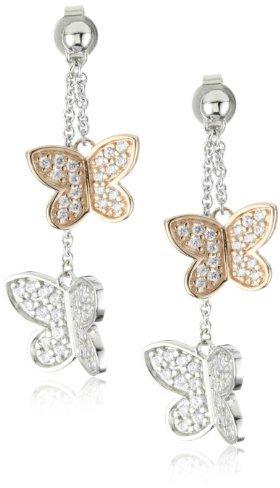 """Esprit Rose Butterfly"""" White Cubic Zirconia Drop Earrings"""
