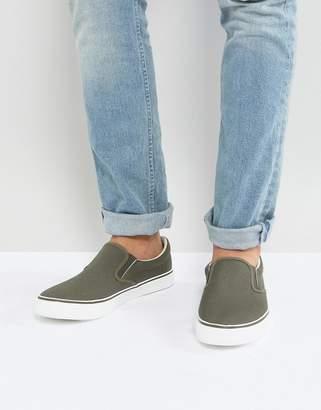 Brave Soul Slip On Sneakers In Khaki