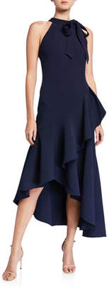 Shoshanna Relia Crepe High-Low Halter Gown